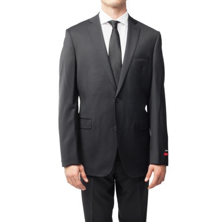 Button Black Worsted Wool Suit - Saks Fifth Avenue Men's Trim-Fit Two Button Wool Suit Black