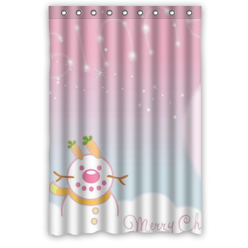 GreenDecor Snowman Christmas Waterproof Shower Curtain Set with Hooks Bathroom Accessories Size 48x72 inches