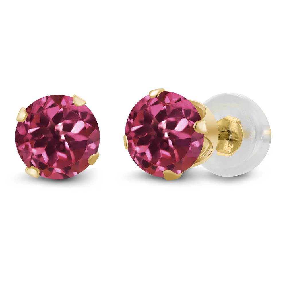 0.48 Ct Round Pink Tourmaline 14K Yellow Gold 4-prong Stud Earrings 4mm by