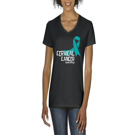 Cervical Cancer Awareness Women V-Neck T-Shirt](Purple Cancer)