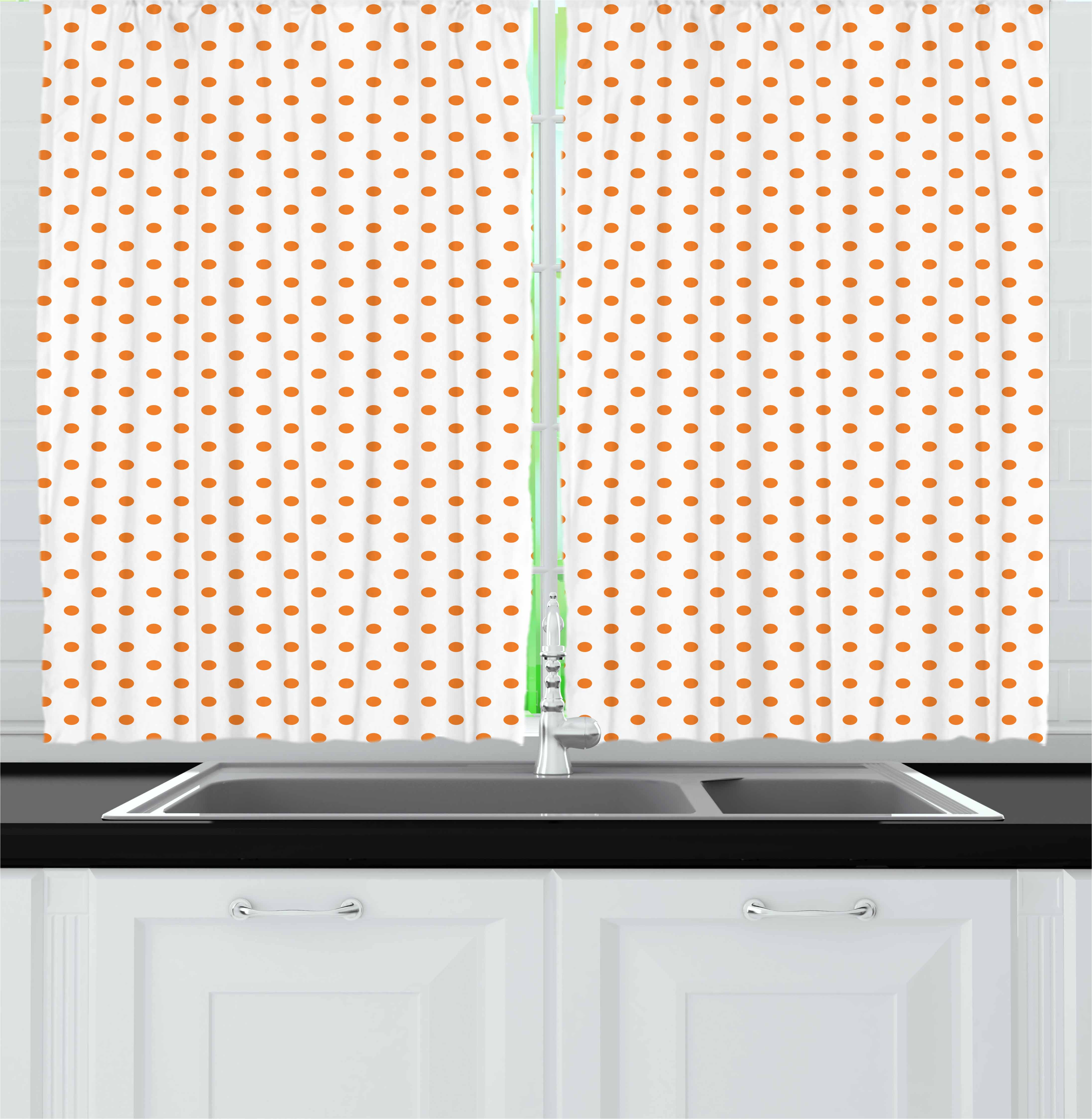 Orange Curtains 2 Panels Set, Little Orange Polka Dots on Blank Backdrop Spotted Tile Pattern Retro Style Print, Window Drapes for Living Room Bedroom, 55W X 39L Inches, Orange White, by Ambesonne