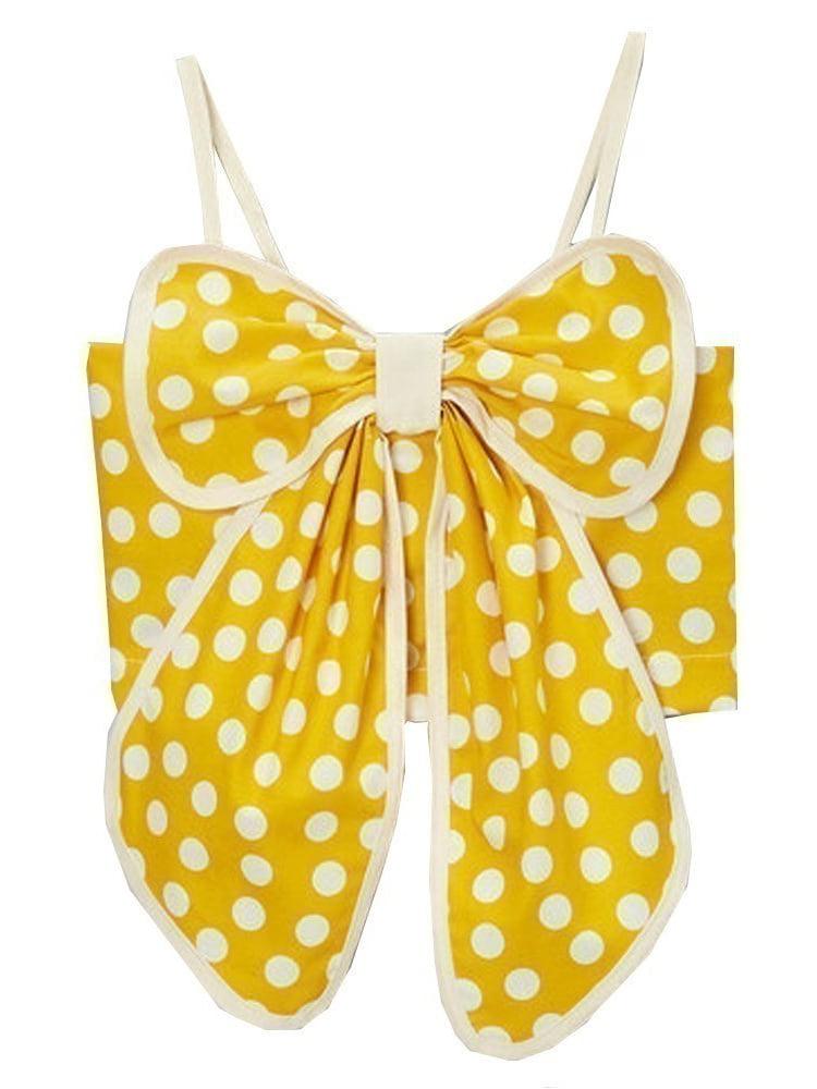 Little Girls Yellow Ivory Polka Dotted Pattern Bow Spaghetti Strap Shirt 12M-6