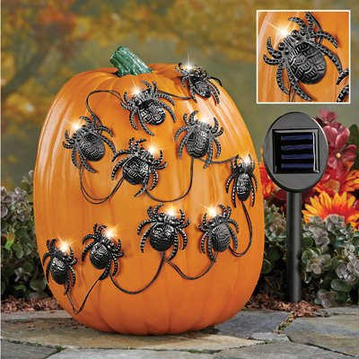 Solar Halloween Spiders Pumpkin Poke-Ins - Pumpkin Spiders