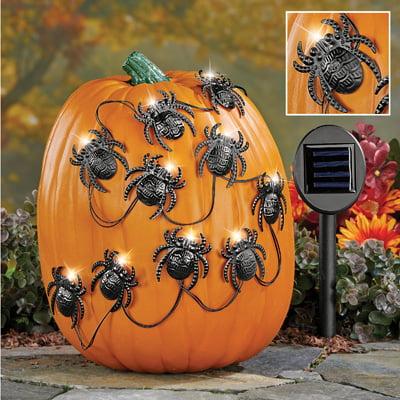 Solar Halloween Spiders Pumpkin Poke-Ins (Halloween Pumpkin Designs Spider)