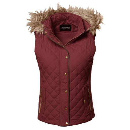 Fur Quilted Vest (FashionOutfit Women's Casual Solid Quilted Padding Vest With Fur Trimmed)