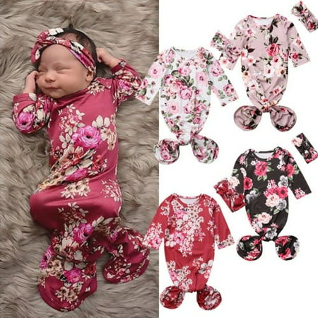 Infant Baby Flower Swaddle Warp Blanket Sleeping Bag Sleepsack Headband - Swaddle Outfit