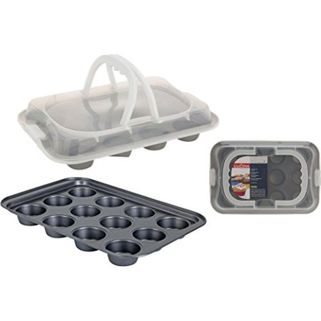 KM Muffin Baking Mould for Muffins, CUPCAKE Baking Tray, Mould with Lid and Carrying Handle - Cupcake Tray