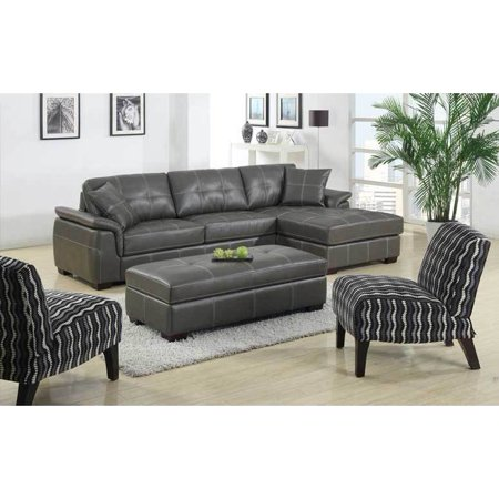 Emerald home furnishings manhattan grey bonded leather 3 for Bonded leather sectional with chaise