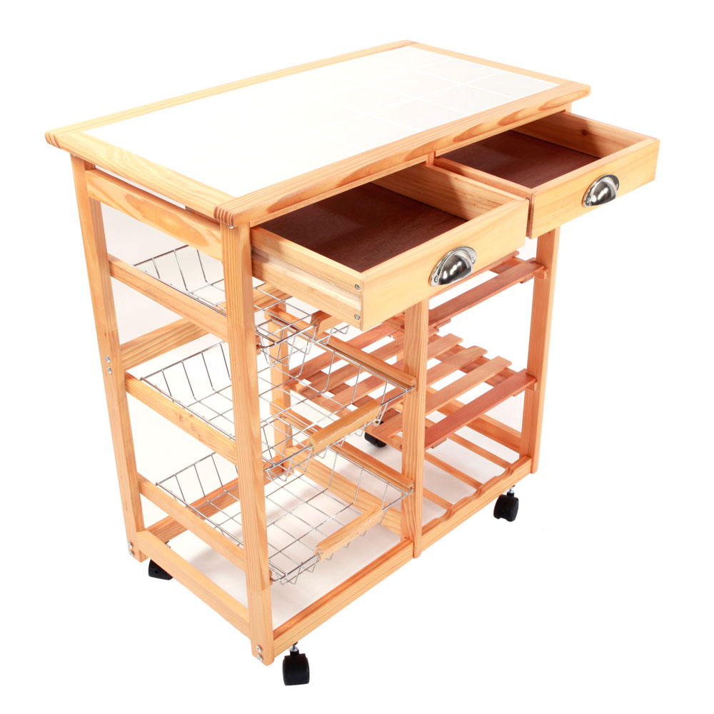 UBesGoo Kitchen Island Dining Cart Baker Cabinet Basket Storage Shelves Organizer Wood