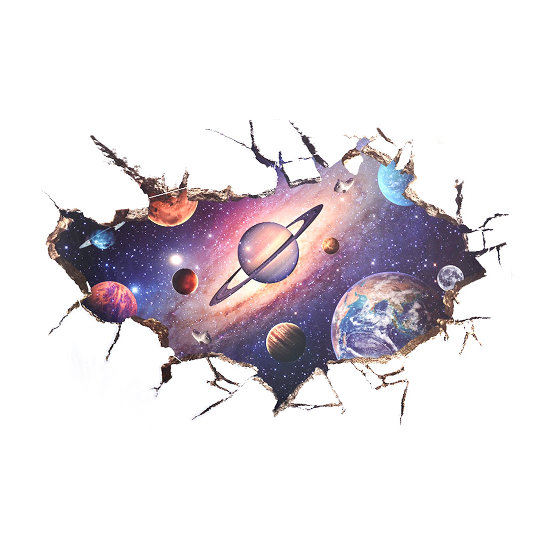 Living Room PVC Outer Space Prints Ornament Wall Sticker Decal Mural 60 x 90cm