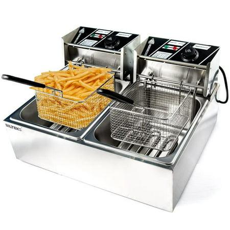 KapscoMoto HOM-014 Commercial Deep Fryer Electric Countertop Dual Tank Basket - Stainless