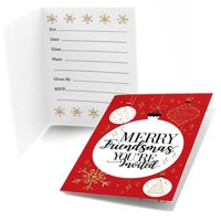 Red and Gold Friendsmas - Fill in Friends Christmas Party Invitations (8 Count)