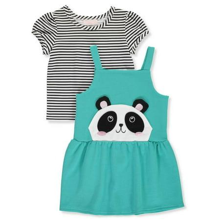 Youngland Girls' Panda Pocket 2-Piece Dress Set Outfit