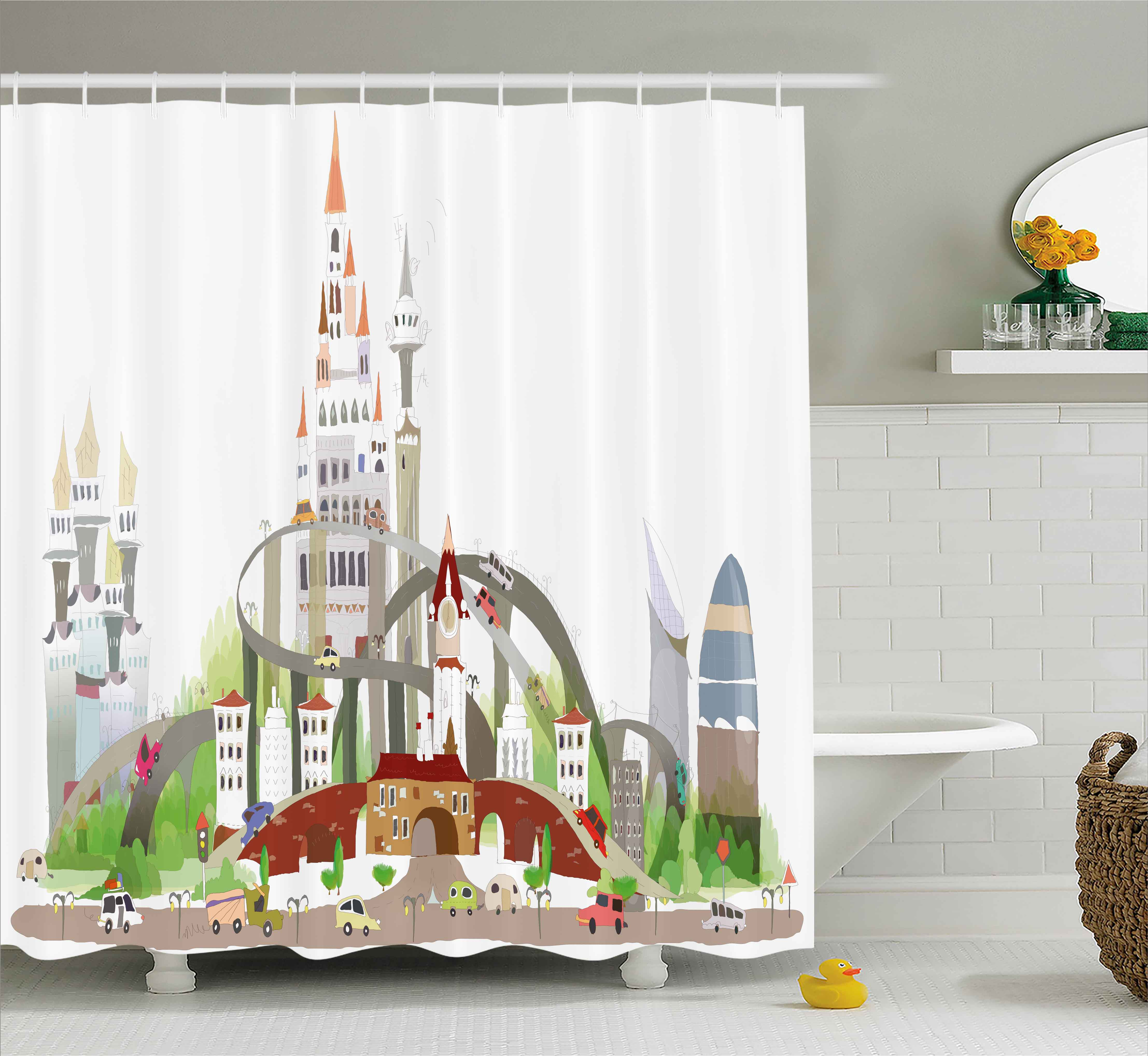 Fantasy Shower Curtain, Mega City Urban Scenery with Medieval Castle Style Skyscrapers City Illustration, Fabric Bathroom Set with Hooks, 69W X 75L Inches Long, Multicolor, by Ambesonne