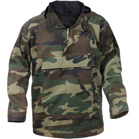 Camo Anorak Hoodie Military Parka Outdoor Army Tactical Sweatshirt Multi-Pocket - Woodland Camo / Small