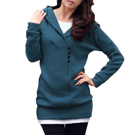 Allegra K Women's Shawl Collar Buttons Decor Hooded Tunic Sweater ...
