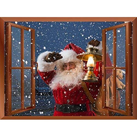 - wall26 Removable Wall Sticker/Wall Mural, Santa Claus Carrying Gifts Outside of Window on Christmas Eve
