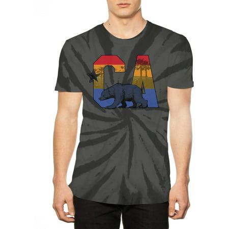 California Bear Big Men's Tie Dye Graphic Tee, 2XL