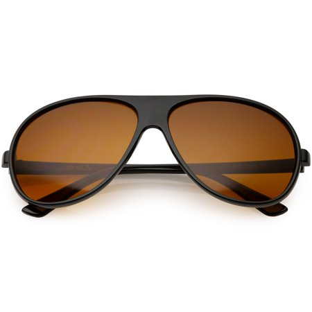 Retro Oversize Flat Top Aviator Sunglasses Blue Blocker Lens 64mm (Black / Orange)