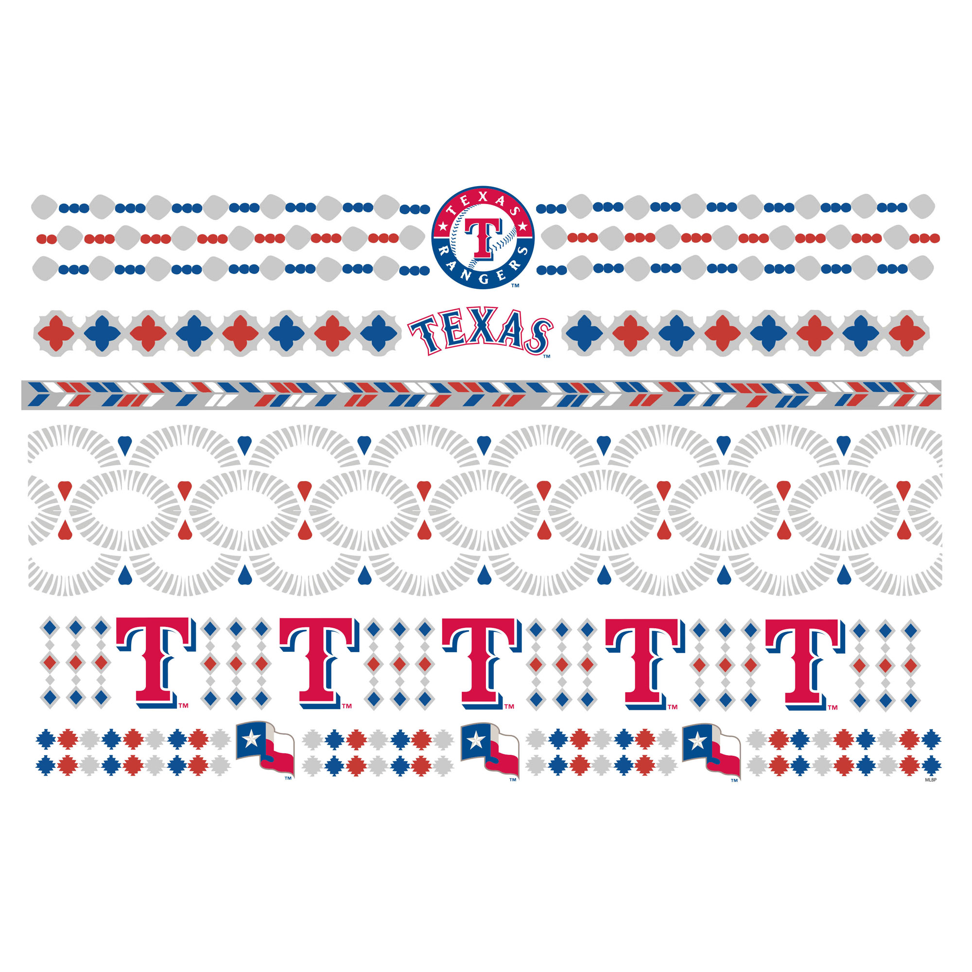 Texas Rangers Metallic Fashion Tattoos - No Size