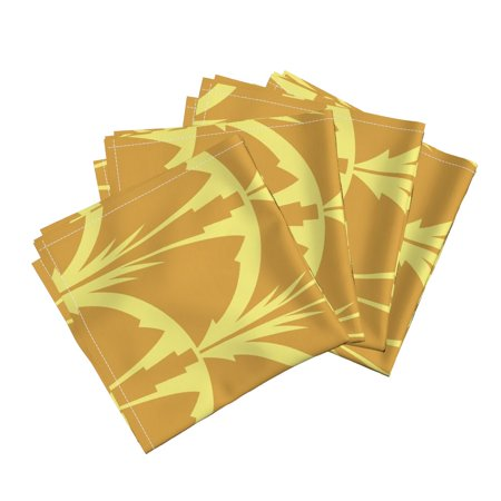 Floral Flower Arc Bloom Blossom Art Cotton Dinner Napkins by Roostery Set of 4