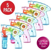 Prextex Pack of 5 Wind up Bubble Shooter Gun LED Light up Bubble Blower Indoor and Outdoor Toys for Puppys Kids Boys and Girls no Batteries Needed