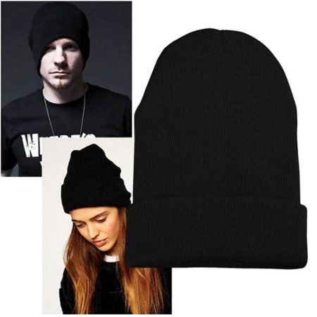 Zodaca Black Womens Knitted Beanie Fashion Hat Winter Unisex Girl Warm Solid Plain Color Soft High Quality