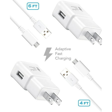 Verizon Charger Kit - Verizon Samsung Galaxy S7 Active Charger Fast Micro USB 2.0 Cable Kit by Ixir - {2 Fast Wall Charger + 2 Cables 4 Ft & 6 Ft}