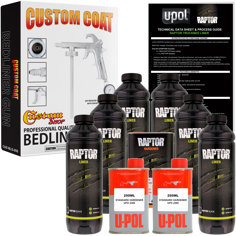 U-POL Raptor Black Urethane Spray-On Truck Bed Liner Kit w/ FREE Custom Coat Spray Gun with Regulator, 6 Liters