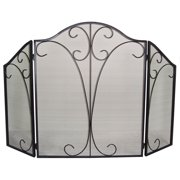 """Clevr 51"""" 3-Panel Arch Fireplace Safety Fence Screen Metal Vintage Gate Divider Guard"""