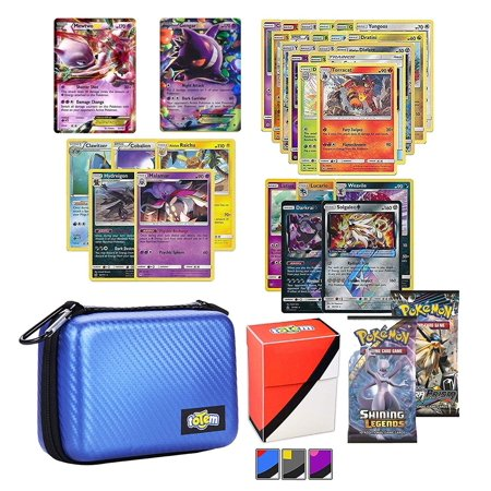 Totem World Pokemon Cards EX Lot with Blue Card Case, 2 Pokemon EX Cards Guaranteed, Plus 2 Booster Pack, 5 Rares, 5 Holos, 20 Regular Pokemon Cards, and 1 Deck (Best Pokemon Booster Pack Get Ex Cards In)
