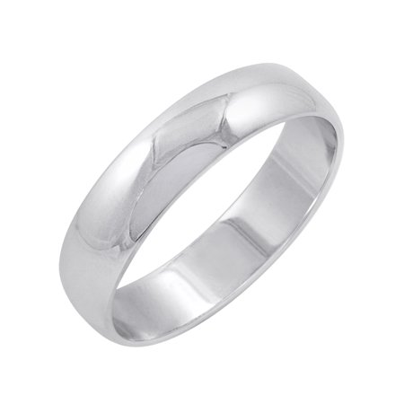 5 Mm Donut - Men's 10K White Gold 5mm Classic Fit Plain Wedding Band (Available Ring Sizes 8-12 1/2)
