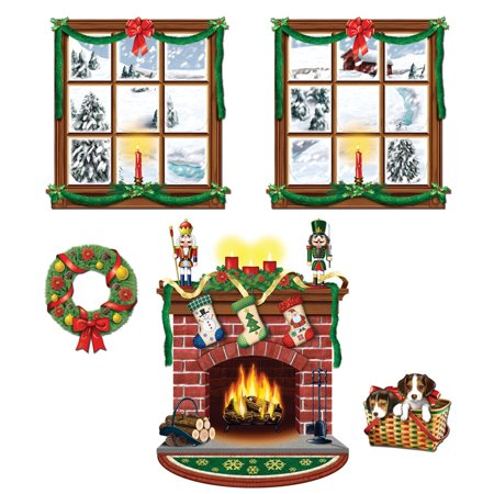 Windows and fireplace scene setters set of 5 for Inside christmas decorations