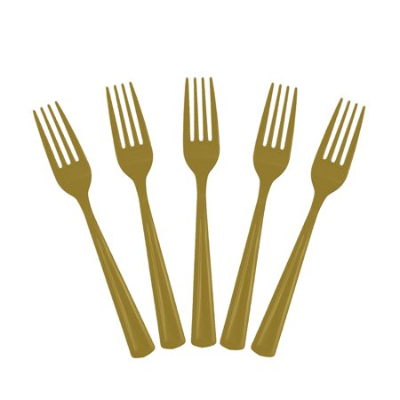 Exquisite Disposable Plastic Forks - 50 Count - Party Deluxe, Heavyweight Plastic Cutlery - Gold