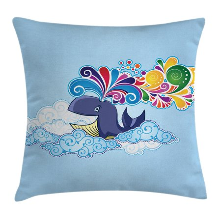 Whale Decor Throw Pillow Cushion Cover, Cartoon Style Flying Happy Whale on Clouds with Rainbow Clods on its head, Decorative Square Accent Pillow Case, 16 X 16 Inches, Multi Colored, by Ambesonne ()