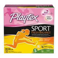 Playtex Sport Fresh Balance Plastic Multipack Tampons, Scented, 32 Ct