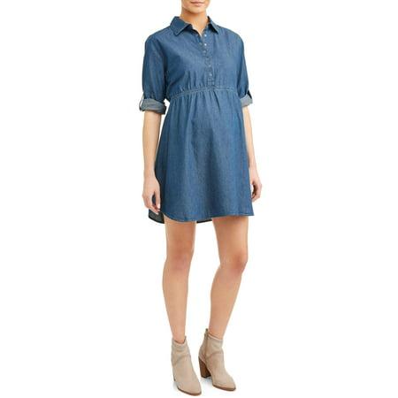 e68dc9270287e Planet Motherhood - Maternity Jean Chambray Dress - Walmart.com