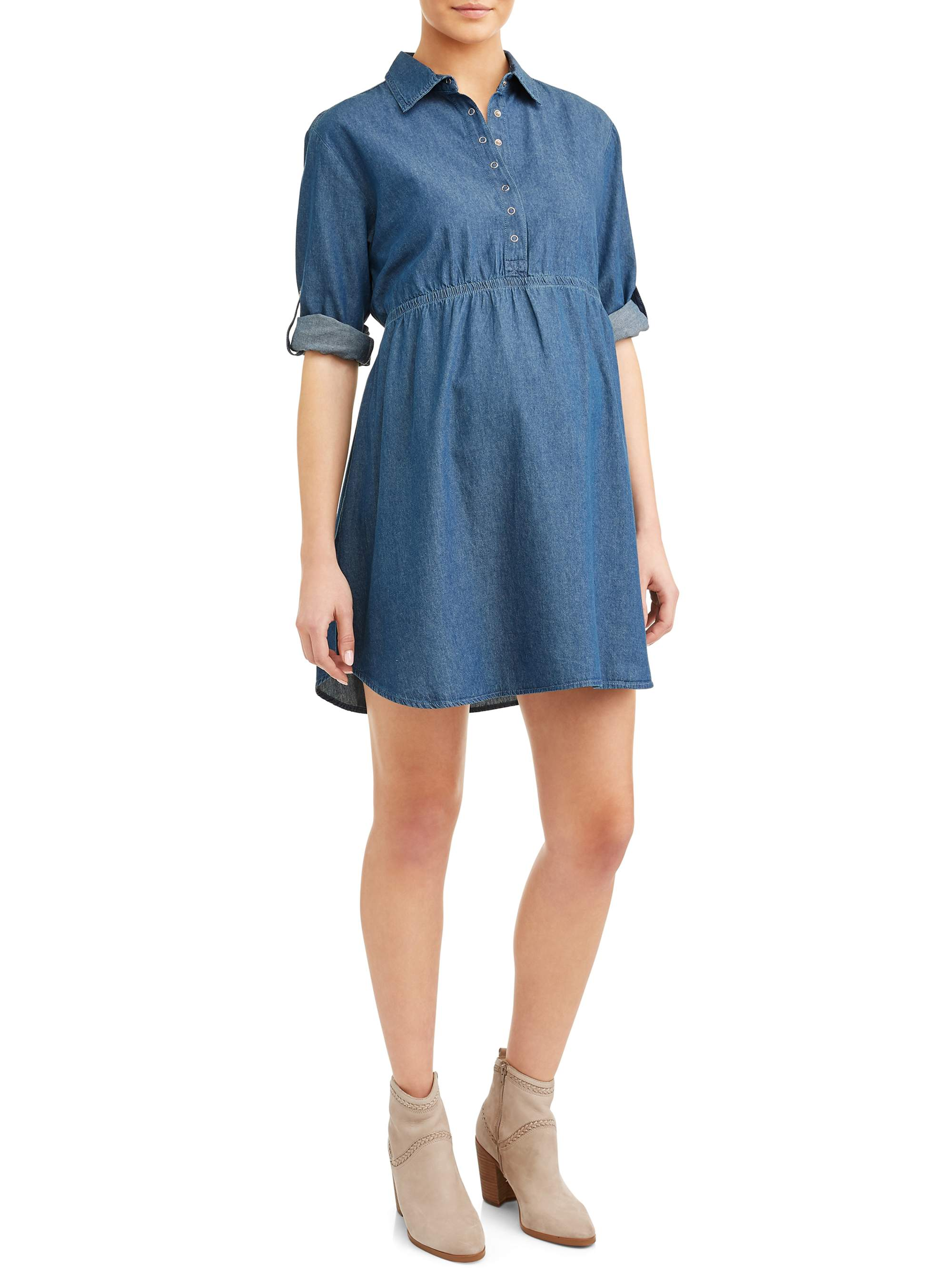 Maternity Jean Chambray Dress