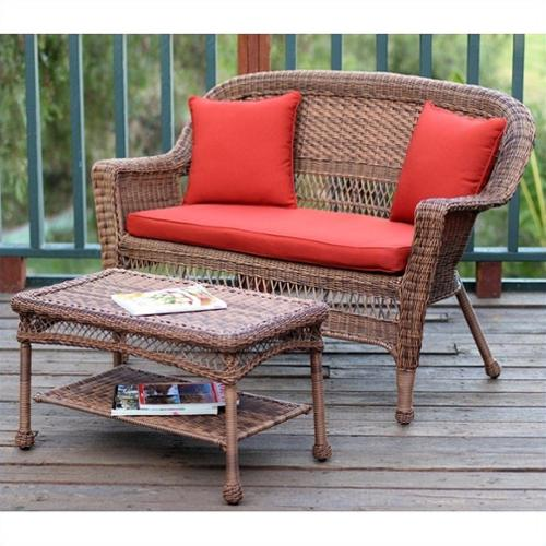 Jeco Wicker Patio Love Seat and Coffee Table Set in Honey with Red Orange Cushion