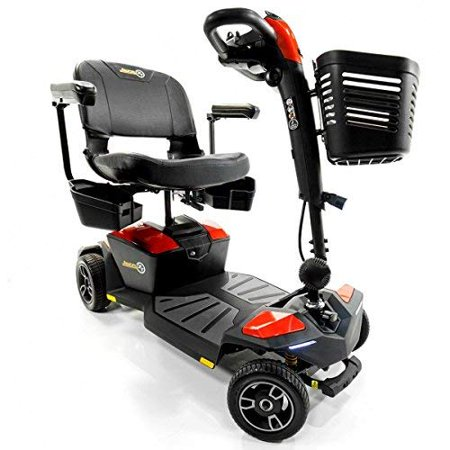 Pride Jazzy ZERO TURN 4-Wheel Travel Mobility Scooters, Get the Best of Both Worlds - 4 Wheel Stability Meets 3 Wheel Maneuverability (Fire