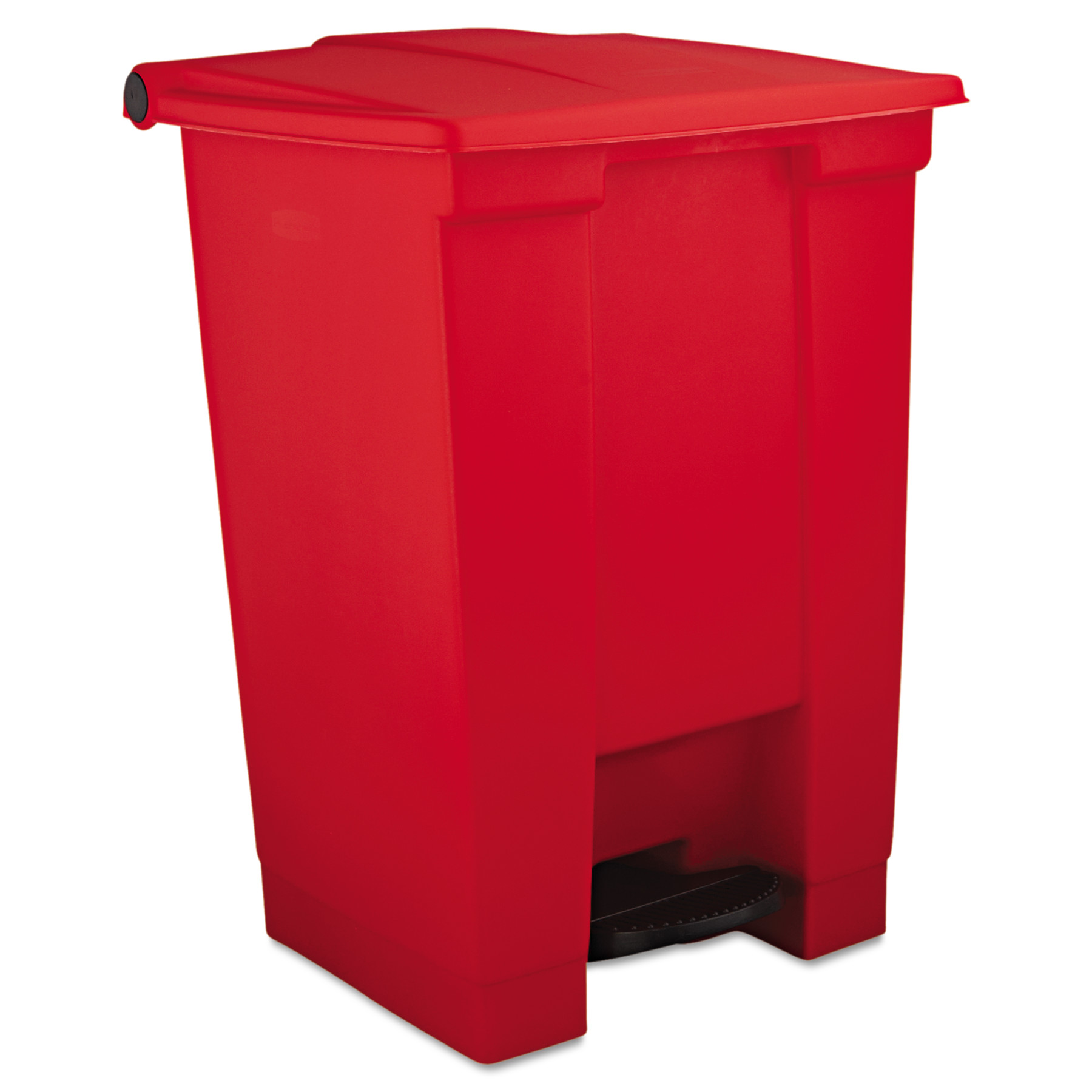 Rubbermaid Commercial Indoor Utility Step-On Waste Container, Square, Plastic, 12gal, Red