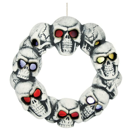Skull Wreath with Lights](Easy Halloween Wreaths)