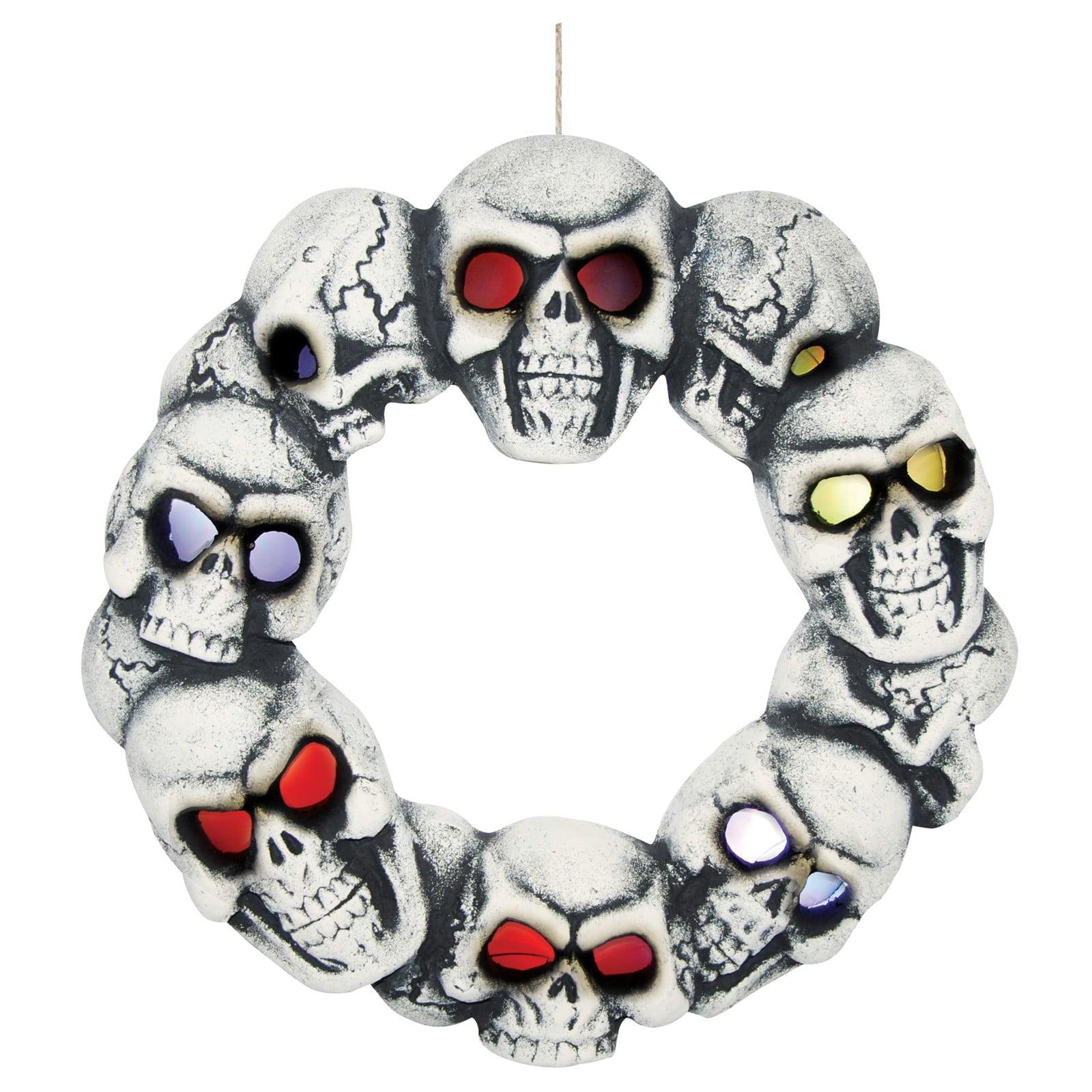 Skull Wreath with Lights
