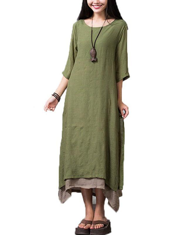 Women's Boho Style Long Sleeve Loose Comfy Dresses