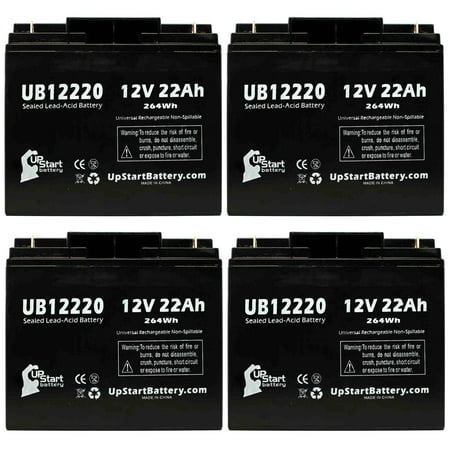 4x Pack - Compatible Newark 50F032 Battery - Replacement UB12220 Universal Sealed Lead Acid Battery (12V, 22Ah, 22000mAh, T4 Terminal, AGM, SLA)