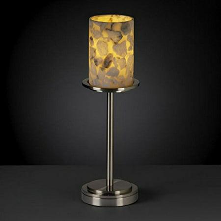 Justice Design  Group Alabaster Rocks Dakota 1-light Brushed Nickel Tall Table Lamp, Cylinder - Flat Rim Shade Alabaster Rocks 12 Light