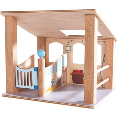 Little Friends Wooden Horse Stall with Swinging Door & Loving Details, This cozy stall is an inviting home for one of the horses, Pippa, Leopold or Kasper, and.., By HABA