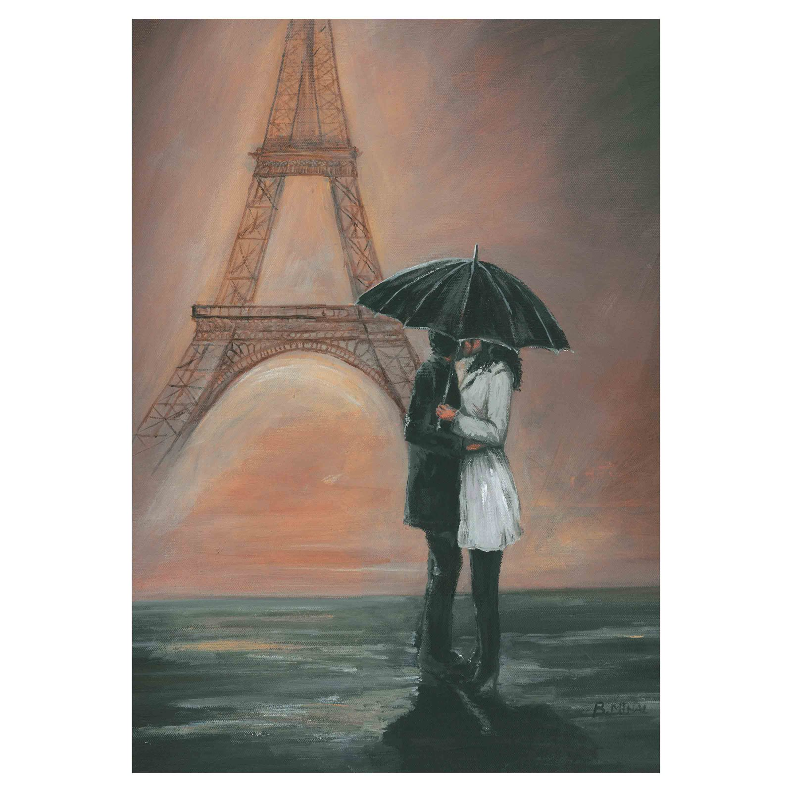 Kissing In Paris Canvas Wall Art - 28W x 40H in.
