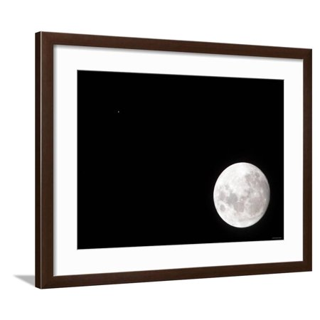 View of a Full Moon, Also Shows Mars, Which Appears as a Small Dot Framed Print Wall Art By Stocktrek Images