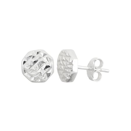 Sterling Silver Diamond Cut Flat Round Stud Earrings